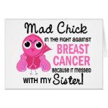 Cáncer de pecho enojado de la hermana del polluelo tarjeton