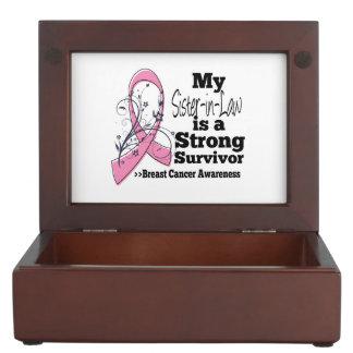 Cáncer de pecho fuerte del superviviente de la cajas de recuerdos