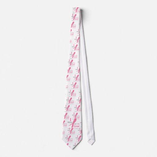 Cáncer de pecho llevo el rosa para mi hermana corbata personalizada