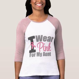 Cáncer de pecho llevo la cinta rosada para mi tía camisetas