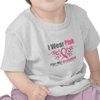 Cáncer de pecho llevo la cinta tribal rosada (la camisetas