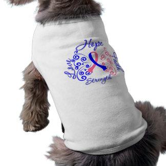 Cáncer de pecho masculino de la fuerza del amor de camisetas de mascota