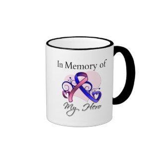Cáncer de pecho masculino en memoria de mi héroe taza
