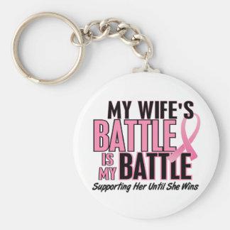 Cáncer de pecho mi BATALLA DEMASIADO 1 esposa Llaveros Personalizados