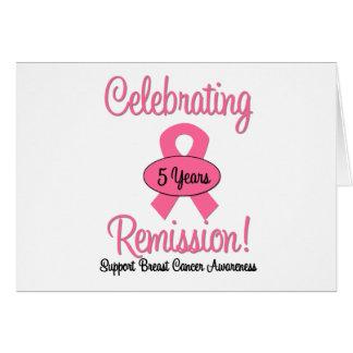 Cáncer de pecho remisión de 5 años tarjeta de felicitación