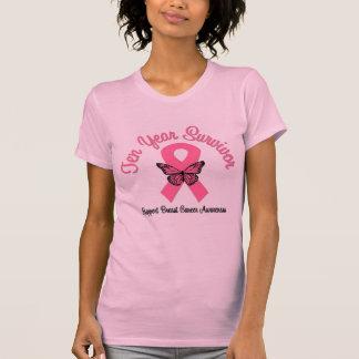 Cáncer de pecho superviviente de 10 años camisetas