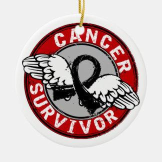 Cáncer de piel del superviviente 14 adorno navideño redondo de cerámica