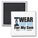 Cáncer de próstata llevo azul claro para mi hijo imanes de nevera