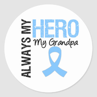 Cáncer de próstata siempre mi héroe mi abuelo etiqueta redonda