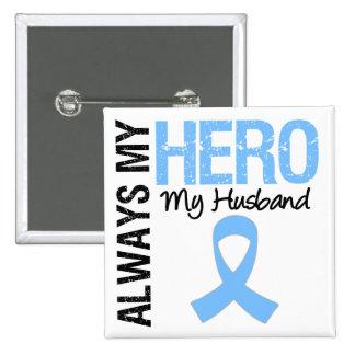 Cáncer de próstata siempre mi héroe mi marido pin cuadrada 5 cm