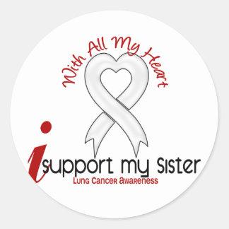 Cáncer de pulmón apoyo a mi hermana pegatina redonda