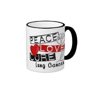 Cáncer de pulmón de la curación del amor de la paz taza a dos colores