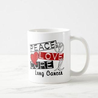 Cáncer de pulmón de la curación del amor de la paz taza básica blanca
