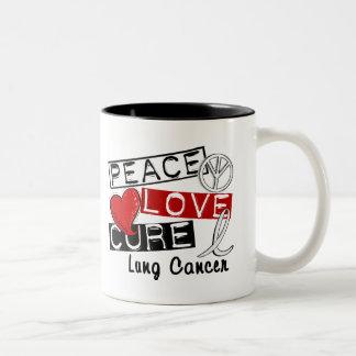 Cáncer de pulmón de la curación del amor de la paz taza dos tonos