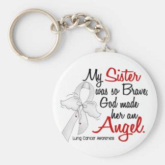 Cáncer de pulmón de la hermana del ángel 2 llavero redondo tipo pin