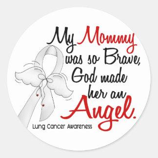 Cáncer de pulmón de la mamá del ángel 2 pegatina redonda