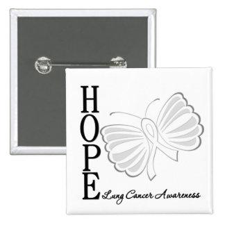 Cáncer de pulmón de la mariposa de la esperanza pin cuadrado