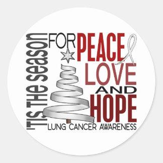 Cáncer de pulmón del día de fiesta del navidad de pegatina redonda