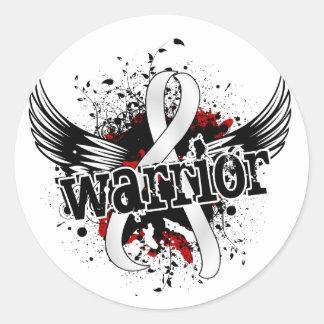 Cáncer de pulmón del guerrero 16 pegatina redonda