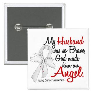 Cáncer de pulmón del marido del ángel 2 pin cuadrada 5 cm