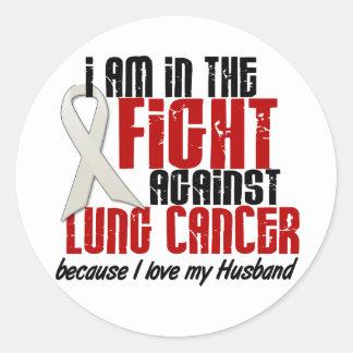 Cáncer de pulmón EN el marido de la LUCHA 1 Pegatina Redonda