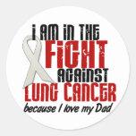 Cáncer de pulmón EN el papá de la LUCHA 1 Pegatinas Redondas