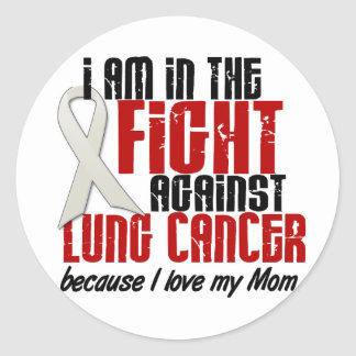 Cáncer de pulmón EN la mamá de la LUCHA 1 Pegatina Redonda