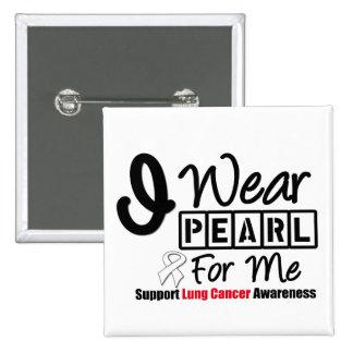 Cáncer de pulmón llevo la cinta de la perla para pin cuadrado