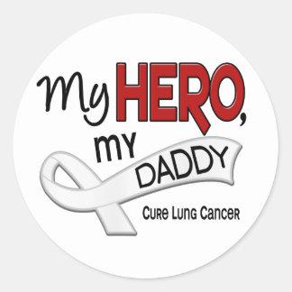 Cáncer de pulmón MI HÉROE MI PAPÁ 42 Pegatina Redonda