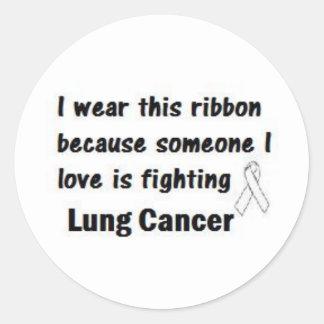 Cáncer de pulmón pegatina redonda