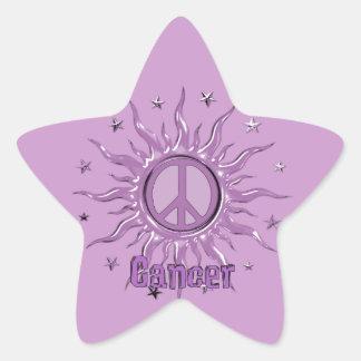 Cáncer de Sun de la paz Pegatina En Forma De Estrella