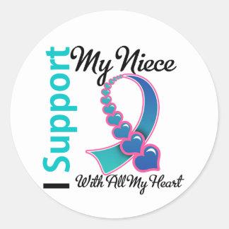 Cáncer de tiroides apoyo a mi sobrina pegatina redonda