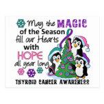 Cáncer de tiroides de los pingüinos del navidad tarjetas postales