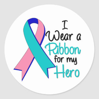 Cáncer de tiroides llevo una cinta para mi héroe pegatina redonda