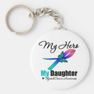 Cáncer de tiroides mi héroe mi hija llavero redondo tipo pin