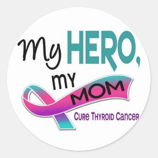Cáncer de tiroides MI HÉROE MI MAMÁ 42 Pegatinas Redondas