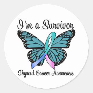 Cáncer de tiroides soy un superviviente pegatinas redondas