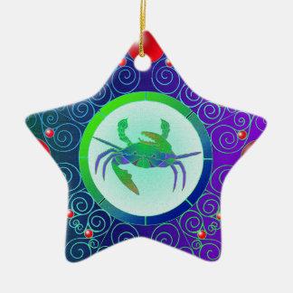 Cáncer del ornamento de la muestra de la estrella adorno de cerámica en forma de estrella