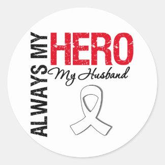 Cáncer del pulmón y de hueso - siempre mi héroe mi pegatinas redondas