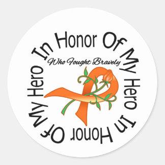Cáncer del riñón en honor de mi héroe pegatina redonda