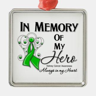 Cáncer del riñón en memoria de mi héroe v2 adorno navideño cuadrado de metal