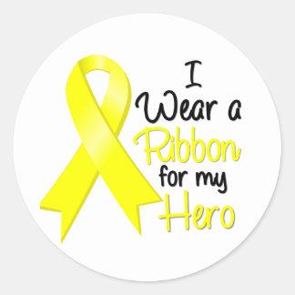 Cáncer del sarcoma llevo una cinta para mi héroe pegatina redonda