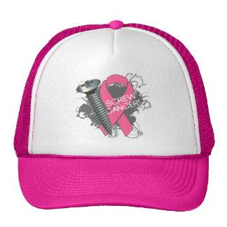 Cáncer del tornillo - cáncer de pecho del Grunge Gorras