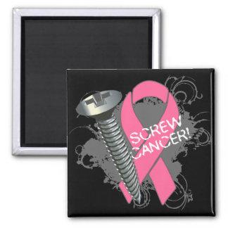 Cáncer del tornillo - cáncer de pecho del Grunge Imanes De Nevera