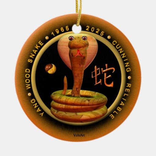 Cáncer del zodiaco de la serpiente de madera 2025 adorno navideño redondo de cerámica