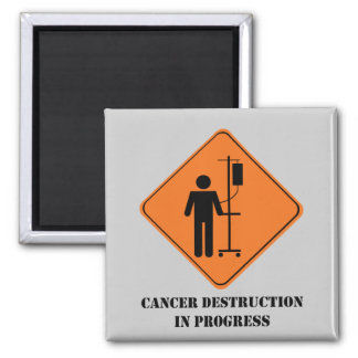 cancer destruction in progress-large 2 inch square magnet