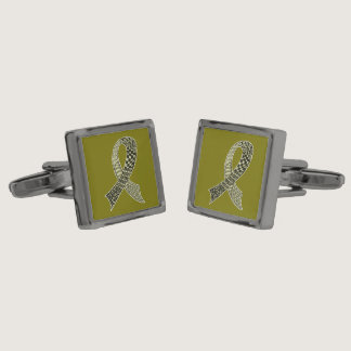 Cancer Disease Awareness Ribbon Pick Any Color Cufflinks