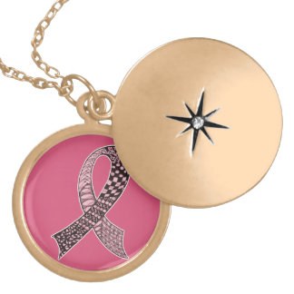 Cancer Disease Awareness Ribbon Pick Any Color Round Locket Necklace