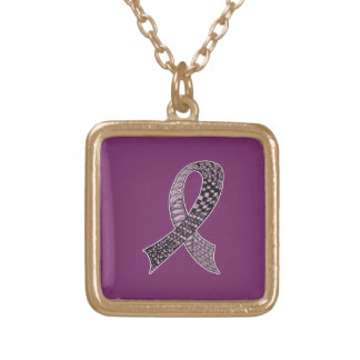 Cancer Disease Awareness Ribbon Pick Any Color Square Pendant Necklace