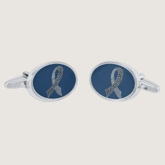 Cancer Disease Awareness Ribbon Pick Any Color Silver Cufflinks